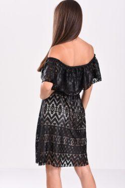 Φόρεμα με δαντέλα κι ανοιχτούς ώμους μαύρο - πίσω όψη