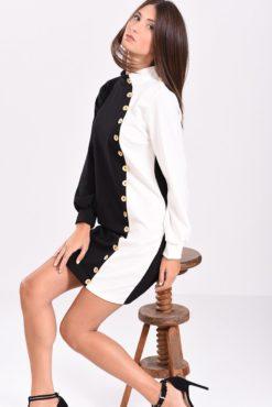 Μακρυμάνικο φόρεμα με διακοσμητικά κουμπιά ασπρόμαυρο
