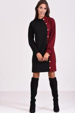 Μακρυμάνικο φόρεμα με διακοσμητικά κουμπιά σε στενή γραμμή - μπορντό μαύρο