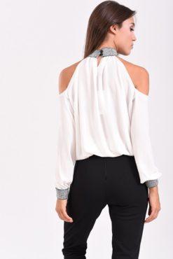 Μπλούζα με έξω ώμους και λάστιχο στο τελείωμα λευκή - πίσω μέρος